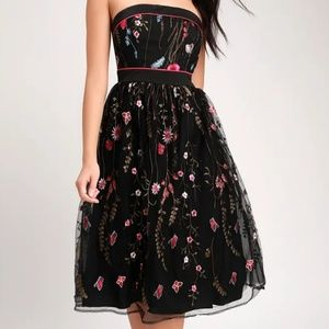 Lulu's For the Frill Of It Black Embroidered Dress